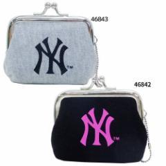 MLB 小銭入れ ミニがま口 コインケース 黒ピンク グレー黒 ニューヨークヤンキース 野球グッズ メール便可