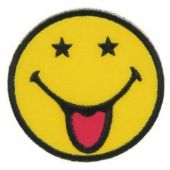 SMILEY スマイリーフェイス ワッペン アイロン パッチ スターフェイス キャラクターグッズ メール便可
