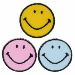SMILEY スマイリーフェイス ワッペン ミニ アイロン パッチ 3個セット カラフルフェイス キャラクターグッズ メール