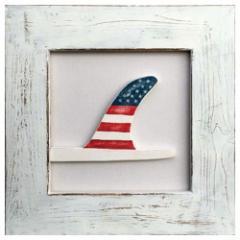 取寄品 送料無料 カフェ インテリア サーフ アート パネル 額つき Smile Factory American Flag Fin 海 サーフボード