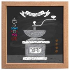 取寄品 キャンバス アート ポスター 額付 カフェ インテリア サイン フレーム コーヒーミル インテリア グッズ