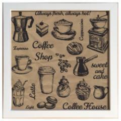 取寄品 キャンバス アート ポスター 額付 カフェ インテリア サイン フレーム コーヒーハウス ZSF-52350 インテリアグ