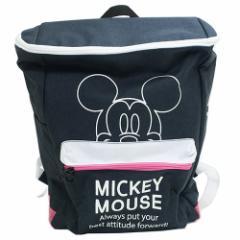 ミッキーマウス スクエアデイパック ボックス型リュック ネイビー ディズニー キャラクター グッズ