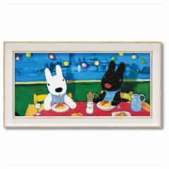 取寄品 リサとガスパール フレンチ アート 額付ポスター アート フレーム S ワイド だいすきなスパゲッティ