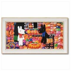 取寄品 リサとガスパール フレンチ アート 額付ポスター アート フレーム S ワイド キャンディーハウス