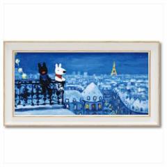 取寄品 リサとガスパール フレンチ アート 額付ポスター アート フレーム S ワイド パリの天窓から