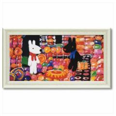 取寄品 送料無料 リサとガスパール フレンチ アート 額付ポスター アート フレーム L ワイド キャンディーハウス