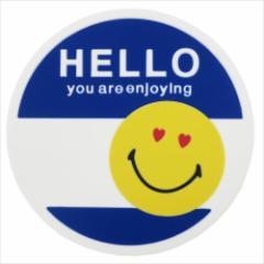 スマイリーフェイス コースター ラバーコースター HELLO ブルー SMILEY FACE キャラクターグッズ メール便可
