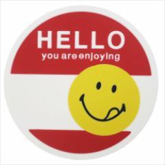 スマイリーフェイス コースター ラバーコースター HELLO レッド SMILEY FACE キャラクターグッズ メール便可