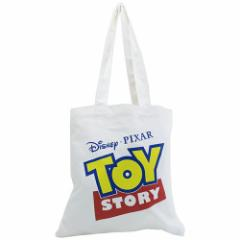 トイストーリー トートバッグ キャンバスカラートート ロゴ ホワイト ディズニー キャラクター グッズ