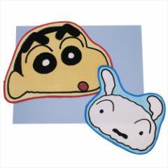 クレヨンしんちゃん ミニタオル ダイカット タオル 2枚 セット しんのすけ&シロ アニメキャラクターグッズ メール便可