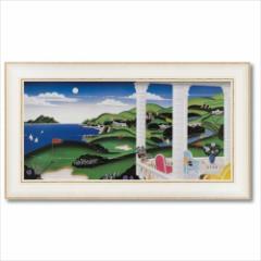 取寄品 送料無料 トーマス・マックナイト 風景画 アートフレーム シーサイド ゴルフ インテリア グッズ