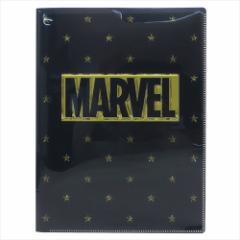 MARVEL ロゴ ファイル 10ポケット A4 クリアファイル ゴールド マーベル キャラクターグッズ メール便可