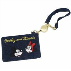 ミッキー&ミニー 定期入れ リールストラップ付きパスケース デニム ワッペン ディズニー キャラクターグッズ メール便可