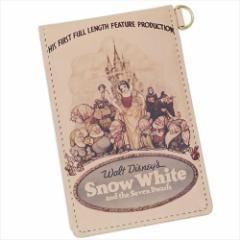送料無料 白雪姫 本革定期入れ レザー製縦型二つ折りパスケース クラシックポスター ディズニープリンセス キャラクター グッズ