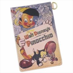 送料無料 ピノキオ 本革定期入れ レザー製縦型二つ折りパスケース クラシックポスターシリーズ ディズニー キャラクター グッズ