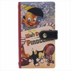 送料無料 ピノキオ スマホ本革マルチケース スマートフォン汎用手帳型カバー クラシックポスター ディズニー キャラクター
