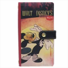 送料無料 ミッキーマウス3 スマホ本革マルチケース スマートフォン汎用手帳型カバー クラシックポスター ディズニー キャラクター