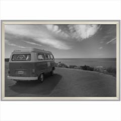 取寄品 送料無料 デザイナーズアート 写真 アート B&W PHOTOGRAPHY VW Type2 フォルクス ワーゲン 額付きインテリア雑貨通販