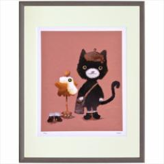 取寄品 送料無料 菜生 nao アートフレーム 額装品 おしゃま猫 額付きインテリア雑貨通販