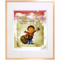 取寄品 送料無料 はりたつお アートフレーム 額装品 ギターと少年 額付きインテリア雑貨通販