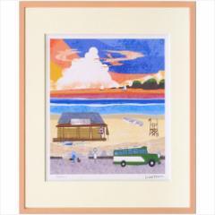 取寄品 送料無料 はりたつお アートフレーム 額装品 夕暮れの浜辺 額付きインテリア雑貨通販