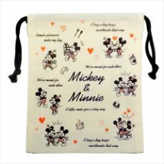 ミッキー&ミニー 巾着袋 マチ付ききんちゃくポーチ ハート ディズニー キャラクターグッズ メール便可