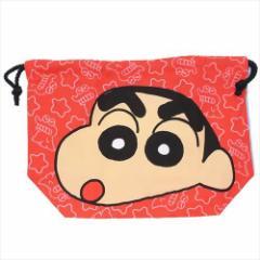 クレヨンしんちゃん ランチ巾着 マチ付き巾着袋 フェイス アニメキャラクターグッズ メール便可