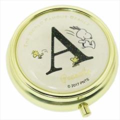 スヌーピー アクセサリー収納ケース ミラー付き小物ケース アルファベット A ピーナッツ キャラクターグッズ通販 メール便可