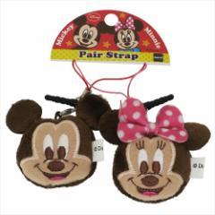 ミッキー&ミニー ストラップ プチペアマスコット2個セット フェイス ディズニー キャラクターグッズ通販 メール便可