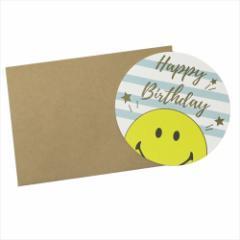 スマイリーフェイス メッセージカード 封筒付きカード ハッピーバースデー ボーダー Smiley Face キャラクター メール便可
