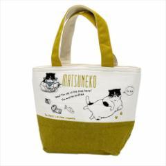 マツネコ 保温保冷ランチバッグ 天ファスナー付きクーラーミニトートバッグねこ お弁当かばんグッズ通販