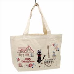 魔女の宅急便 ランチバッグ 刺繍キャンバスミニトート ジジ 街の景色 スタジオジブリ キャラクターグッズ通販 メール便可