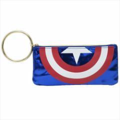 キャプテンアメリカ ペンケース フラットペンポーチ シールド マーベル キャラクターグッズ通販 メール便可