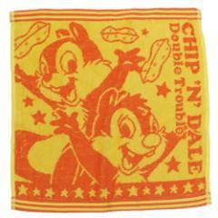 チップ&デール ハンドタオル ジャガード ハンカチタオル オレンジ ディズニー キャラクターグッズ通販 メール便可