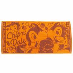 チップ&デール フェイスタオル ジャガード ロングタオル オレンジ ディズニー キャラクターグッズ通販 メール便可