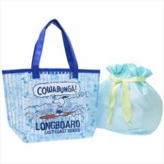 スヌーピー プールバッグ 巾着付きクリアトートバッグ ロングボード 2018SS ピーナッツ キャラクターグッズ通販