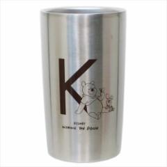 くまのプーさん 保温保冷コップ 真空ステンレスタンブラー イニシャル K ディズニー 300ml キャラクター グッズ