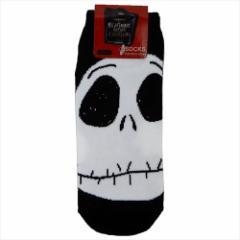 ナイトメアビフォアクリスマス 女性用靴下 レディースソックス ジャック フェイス ディズニー 23〜25cm キャラクター グッズ メール便可