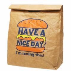 保冷 ランチバッグ 紙袋風ポーチ ハンバーガー 21×25×10cm お弁当かばん グッズ