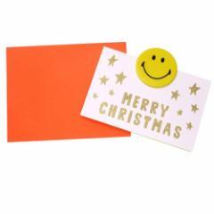 スマイリーフェイス グリーティングカード 封筒付きグリッタークリスマスカード 495 オレンジ Smiley Face かわいい メール便可