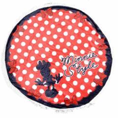 ミニーマウス 円形ひざ掛け毛布 ラウンドブランケット ドレス ディズニー 直径120cm キャラクター グッズ