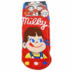 不二家のペコちゃん 女性用 防寒 靴下 レディース もこもこ ソックス ミルキーチョコレート 22〜24cm キャラクター グッズ メール便可