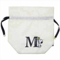 スヌーピー 巾着袋 イニシャルきんちゃく アルファベット M ピーナッツ 22×22cm キャラクター グッズ メール便可