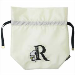 スヌーピー 巾着袋 イニシャルきんちゃく アルファベット R ピーナッツ 22×22cm キャラクター グッズ メール便可