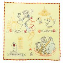 美女と野獣 ミニタオル 刺繍 ハンドタオル ビューティフルモーメント ディズニープリンセス 25×25cm キャラクター グッズ メール便可