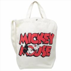 ミッキーマウス トートバッグ 2wayショルダートート ロゴRD ディズニー 34×35×13cm キャラクター グッズ