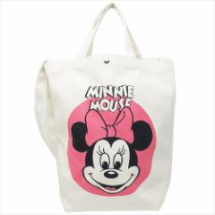 ミニーマウス トートバッグ 2wayショルダートート フェイスRD ディズニー 34×35×13cm キャラクター グッズ
