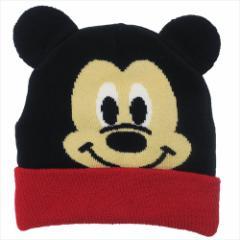 ミッキーマウス 子供用毛糸帽子 キッズニットキャップ フェイス ディズニー 50〜52cm キャラクター グッズ メール便可