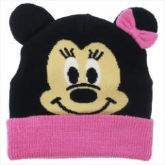 ミニーマウス 子供用毛糸帽子 キッズニットキャップ フェイス ディズニー 50〜52cm キャラクター グッズ メール便可